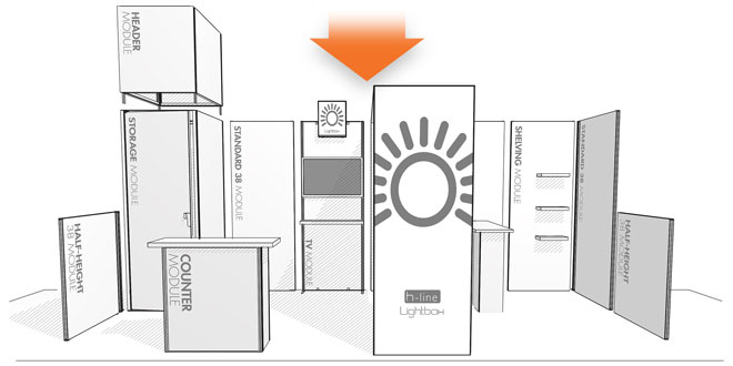 Choose your H-line modules to create your custom exhibit